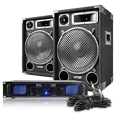 "MAX12 12"" Speakers Power Amplifier DJ Disco PA Home Hifi Karaoke Party 1200W Set"