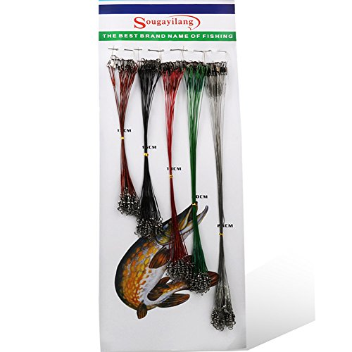 Sougayilang 100pcs Fishing Leader Rigging Trace Lure Snaps Swivel Steel Wire Spinner Tackle Lines Rig
