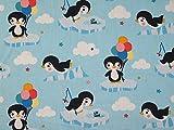 Pinguine Spaß Print Baumwolle Kleid Stoff Sky
