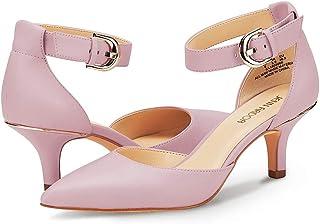 e3af69d673e0 JENN ARDOR Women s Kitten Heel Pumps Ladies Closed Pointed Toe D Orsay Ankle  Strap Dress