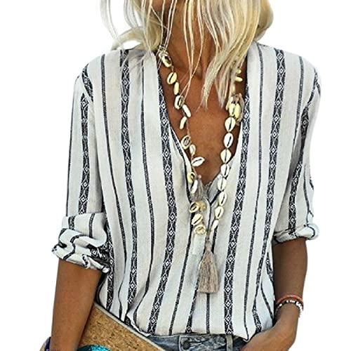 Segindy Camisa a Rayas con Cuello en V para Mujer Color a Juego Costura Personalidad Tendencia Suelta Cómoda Todo-fósforo Moda Pullover Top L
