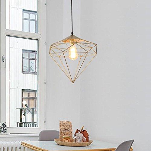 Diamant de suspension Gymnastique Wind Personnalité créative Retro Fer Forgé seule Tête Shop Front Restaurant Bar Lustre élégant simple Lampe à suspension Ampoule E27 max. 40 W 30 cm (Or)