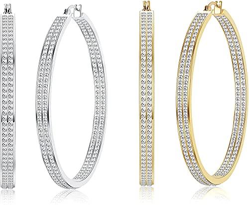 Milacolato 2 Pares De Pendientes De Aro Grandes De Acero Inoxidable Con Pendientes De aro De Diamantes De Imitación Para Mujer Pendientes De Aro De Plata Chapados En Oro