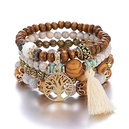U/A 3-4 Stück/Set Mode Boho Armbänder & Armreifen Frauen Stein Perlen Armband Set Bunte Edelstein Long Wrap Armband Frauen