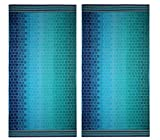 COTTON CRAFT Malibu Underwater Tile Set of 2 Oversized Cotton Jacquard Woven Velour Beach and Pool Towels, 39 inch x 68 inch, Ombre Blue