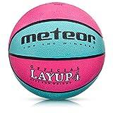 Balón Baloncesto Talla 4 Pelota Basketball Bebe Ball Infantil Niño Balon Basquet - Baloncesto Ideal para los niños y jouvenes para Entrenar y Jugar - Tamaño 4 Layup (#4, Rosa/Azul)