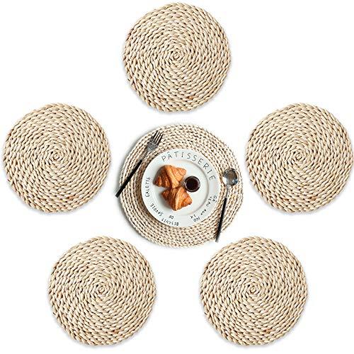 Ldawy Manteles individuales de naturaleza, manteles individuales de cuerda, 6 piezas de aislamiento térmico redondo antideslizante mantel tejido de maíz para el hogar, la oficina (Diámetro18 cm)