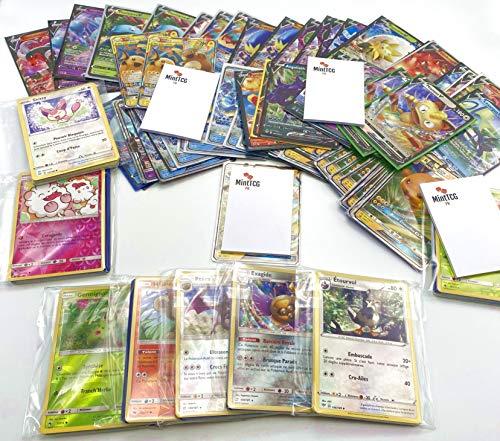 Pokémon : Lot de 2 Cartes Pokémon V / GX / EX Ultra Rare + 20 Cartes communes ou Peu communes française sans Double + 1 Top Loader + 1 Mini Carnet Mint TCG