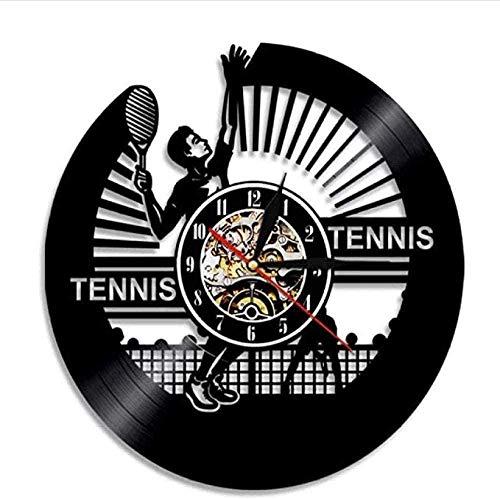 Disco de vinilo Reloj de pared Tenis Reloj de pared Jugador de tenis Silueta Retro Deportes Tema Raqueta Amantes del tenis Registro creativo Reloj de pared Silencioso Decoración única para el hogar No