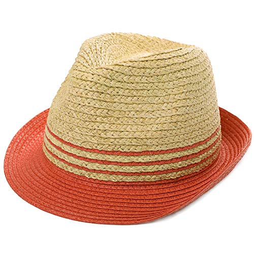 Womens Raffia Straw Fedora Brim Panama Beach Crushable Packable Havana Summer Sun Hat Party Ladies Red X-Large