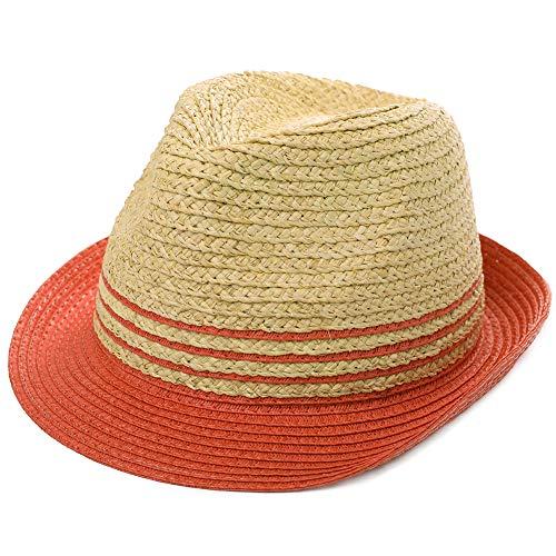 Fedora Sombrero de paja para el sol plegable de verano, sombrero de playa Panamá para hombres y mujeres, 56 – 62 cm - Rojo - Large