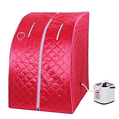2L Portable Steam Sauna Tent SPA Detox-Weight Loss w/ Chair Red