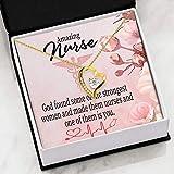 Nurse Appreciation Gift God Made Nurses Forever Love NecklaceCZ Heart - Colgante de acero inoxidable dorado de 18 quilates