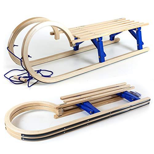 Hörnerschlitten Klappschlitten 110 cm mit Leine/HolzFee Tourer Baran Blue XL