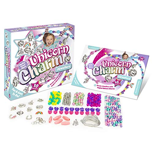 Craftbox CB806 Unicorn Charm Jewellery Craft Set, Mixed