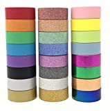24 Rolls Multi-Purpose Washi Tape Set | Variety of Colors in Solid, Glitter & Foil| Great for Adults and Kids; Decorating Scrapbook, Journal, Planner; Gift Wrapping; DIY Arts & Crafts
