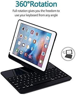 TEN-G Keyboard Case for iPad 9 7 quot   360 Rotatable Wireless Keyboard Smart Folio 180 Swivel Stand Hard Shell Cover Auto Sleep Wake Up for iPad Pro 9 7  amp  iPad Air Black