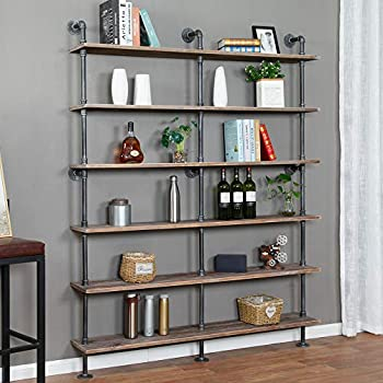 Industrial 6-Tiers Modern Ladder Shelf Bookcase,Solid Wood Storage Shelf,Display Shelving Wall Mounted Wood Shelves Pipe Wood Shelves Bookshelf Vintage Wrought Iron Finish  Gray