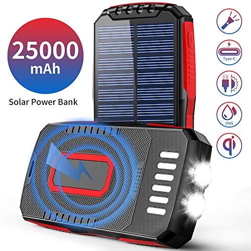 Solar Powerbank 25000mAh 2 LED Taschenlampe(6W) QI Wireless Solarladegeräte 3 Ausgängen(2 USB+Qi)/3 Eingängen (Mikro USB+Typ-C+Solar) IP65 Wasserdicht Externer Akku für Handys Outdoor Aktivitäten