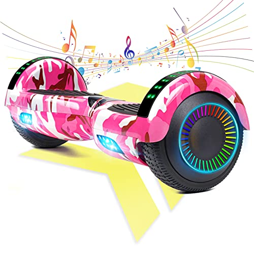 """FLYING-ANT Hoverboard UL 2272 Certified 6.5"""" Two-Wheel Self Balancing Electric Scooter with LED Light Flash Lights Wheels Pink (free carry bag)"""