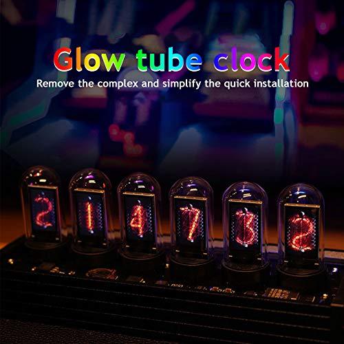Reloj LED Nixie Tube, reloj digital Nixie Tube, calendario, foto personalizada, 20 modos, USB tipo C para amantes, amigos, Navidad, cumpleaños