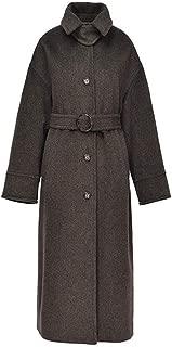 Womens Woolen coat Double-faced woolen coat Lapel Trench Coat long cashmere jacket llama velvet closed collar slim casual long thick Overcoat