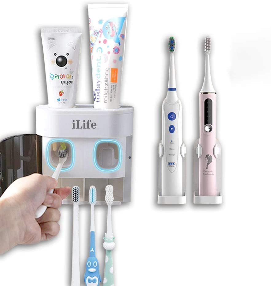 Automatic Toothpaste Dispenser Toothbrush Holder Wall-Mounted with 2 Electric Toothbrush Holders Toothbrush Holder Suitable for Shower Bathroom Set with 2 Toothpaste squeezers