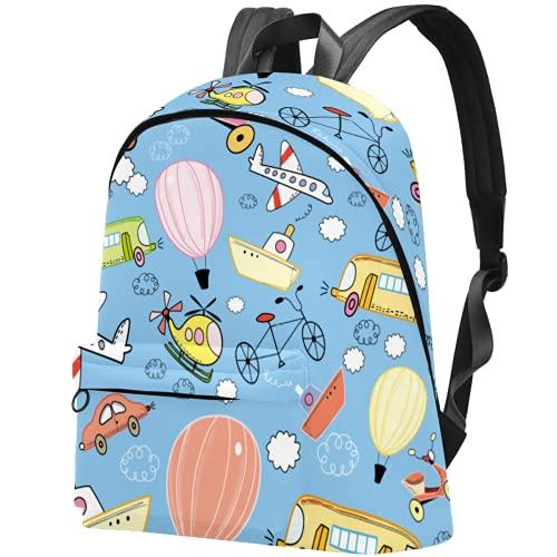 LAZEN Mochila clásica escolar, mochila de viaje ligera, mochila para ordenador portátil, para mujeres, hombres, juguete, avión, bicicleta, transporte