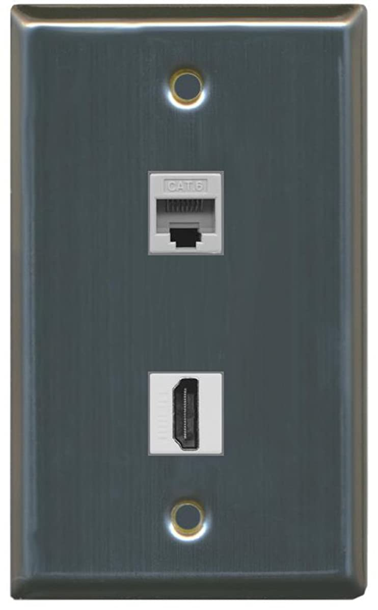 RiteAV - 1 Cat6 Ethernet and 1 HDMI Port Wall Plate - Stainless Steel