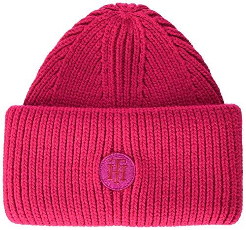 Tommy Hilfiger Damen Th Rich Logo Beanie Schirmmütze, Pink (Pink Tz8), One Size