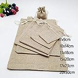 200pcs Jute sac à Cordon coulissant Petit Cadeau Bijoux Petit Cadeau sac Pochette boîte-Cadeau d'emballage sacs pour cadeaux Sacs Bijoux Présentoir sac de Toile de Jute de Mariage DIY,17x.