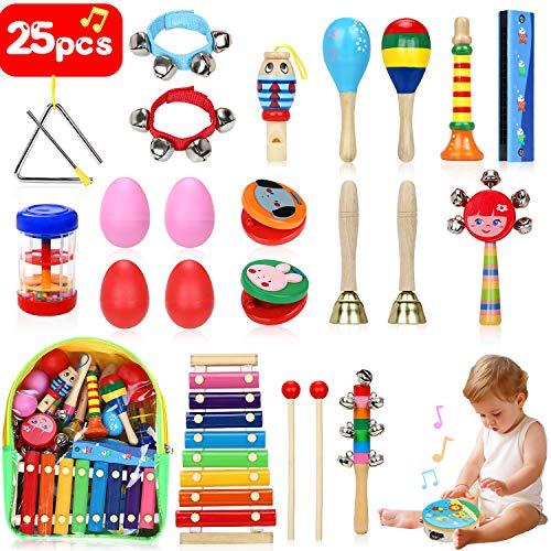 Jojoin Musikinstrumente Kinder Set, 25 Stück Holz Percussion Set für Kleinkinder und Baby, Musik Kinderspielzeug Geschenke, Xylophon Percussion Instrumente mit Tragetasche