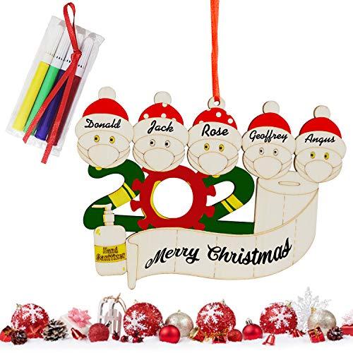 2020 Adorno de Navidad con nombre personalizado, colgante de manualidades de madera, decoración de árbol familiar de supervivientes de cuarentena, regalos creativos de Navidad, familia de 5