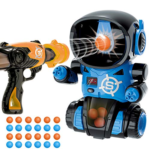 TSOMTTO Robot Shooting Toy Guns Target Shooting Games with Air Pump Gun, 24 Pcs Soft Foam Balls, LCD Score Record, Sound, Party Birthday Toy for Boys Toys Age 7 8 9 10 11 12 13 14 Year Old