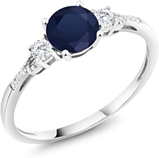 10K White Gold Blue Sapphire White Created Sapphire and Diamond Accent 3-stone Women's Engagement Ring 1.15 cttw (Available 5,6,7,8,9)