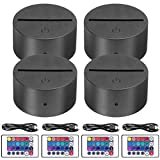 4-Pack 3D Night LED Light Lamp Base + Remote Control + 1 Blank Acrylic+ USB Cable Adjustable 7 Colors Decoration Maison Decorative Lights for Bedroom Child Room Living Room Bar(Black)