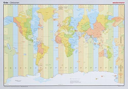 Posterkarten Geographie: Erde: Zeitzonen