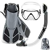 ZEEPORTE Mask Fin Snorkel Set with Adult Snorkeling Gear, Panoramic View Diving Mask,...