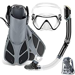 Full mask fin snorkel set: zeeporte long snorkel set with adjustable fins, two window tempered glass lens mask, dry top silicone snorkel, travel gear bag, it's the ultimate travel companion and is suitable for snorkeling, swimming, body surfing, boog...