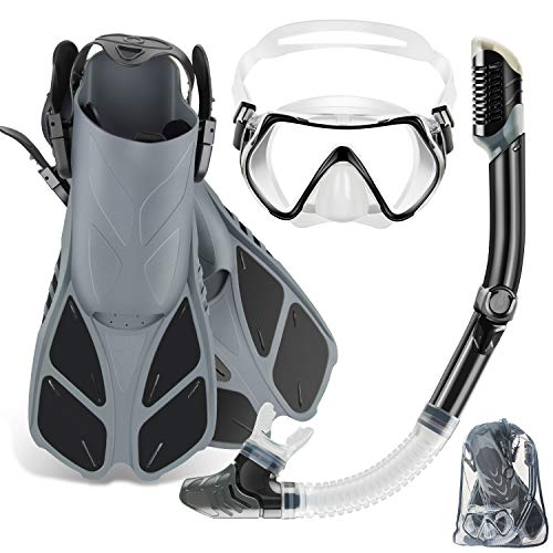ZEEPORTE Mask Fin Snorkel Set with Adult Snorkeling Gear, Panoramic View Diving...