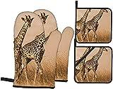 Dos jirafa corriendo en el horno estéril mitones y soportes para ollas, juegos de 4,...