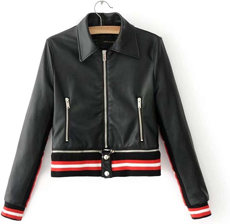 Autumn Detachable Hem Zipper Motorcycle Wash PU Women Leather Jacket