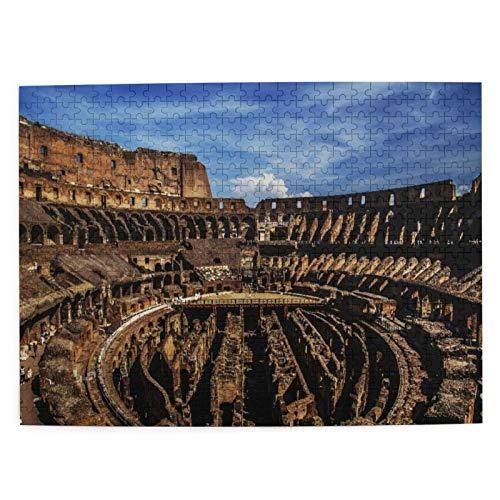 Jigsaw Picture Puzzles 500 Stück,Interne Struktur des Kolosseums Italien Antike Rom Arena Ovaler Gladiator Runis Old Histori,Wandkunstwerk Geschenk für Erwachsene,Teenager,Kinder,20.4 x 15Zoll