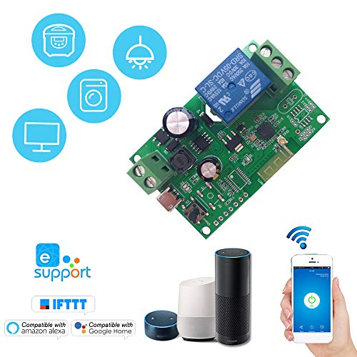 eWeLink DC5V 12 V 24 V 32 V Wifi Switch Modulo relè wireless Moduli di automazione domestica intelligente Telefono APP Telecomando Timer Switch Compatibile con Amazon Alexa Google Home Controllo