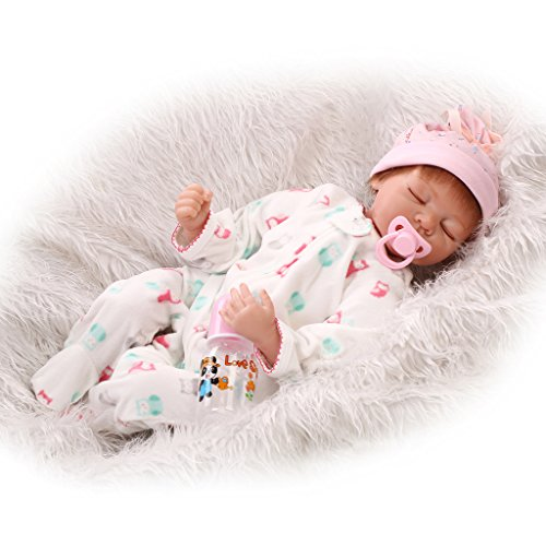 Nicery Reborn Baby Doll Réincarné bébé Poupée Doux Simulation Silicone Vinyle 22 Pouces 55cm Bouche Qui Semble Vivant Garçon Fille Jouet Vif réaliste Âge 3+ Boy Girl White Animal Dress Eyes Close