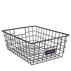 black wire basket with black label