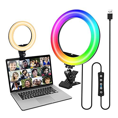 Comast Anillo de luz LED de 8 pulgadas con 15 colores de luz, 10 luminosidades, anillo de luz RGB con clip para YouTube Live Stream, videoconferencia, retratos y volúmenes de maquillaje