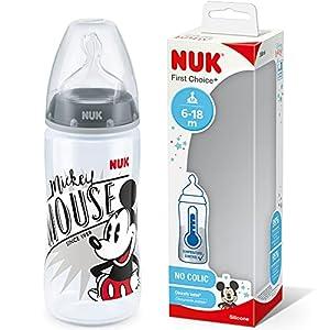 NUK First Choice+ - Biberón de Disney para bebés de 6 a 18 meses, indicador de control de temperatura, botella de 300 ml con válvula anticólicos, sin BPA, tetina de silicona de Mickey Mouse (gris)