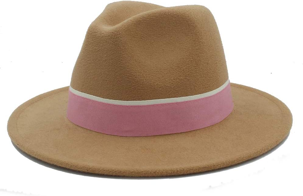 LiuliuBull Women Men Wool Fedora Hat for Lady Winter Autumn Feminino Cloche Wide Brim Jazz Church Sombrero Caps with Pink Ribbon (Color : Light Gray)