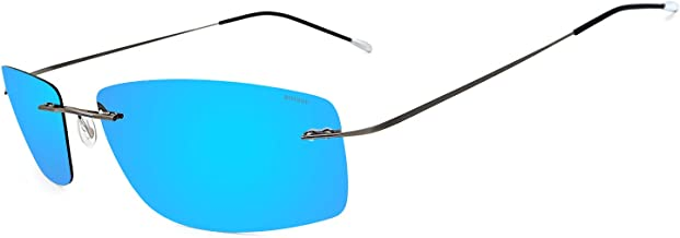 Ronsou Ultra-lightweight Rimless Titanium Men's Fashion Polarized Sunglasses for Driving Outdoor